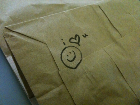 Love note on a sack lunch