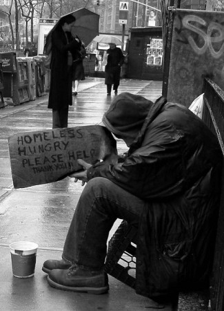 Walking by homeless man, What world would you design?